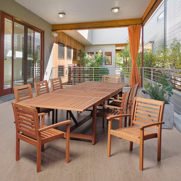 Kennedi International Home Outdoor 9 Piece Dining Set by Rosecliff Heights