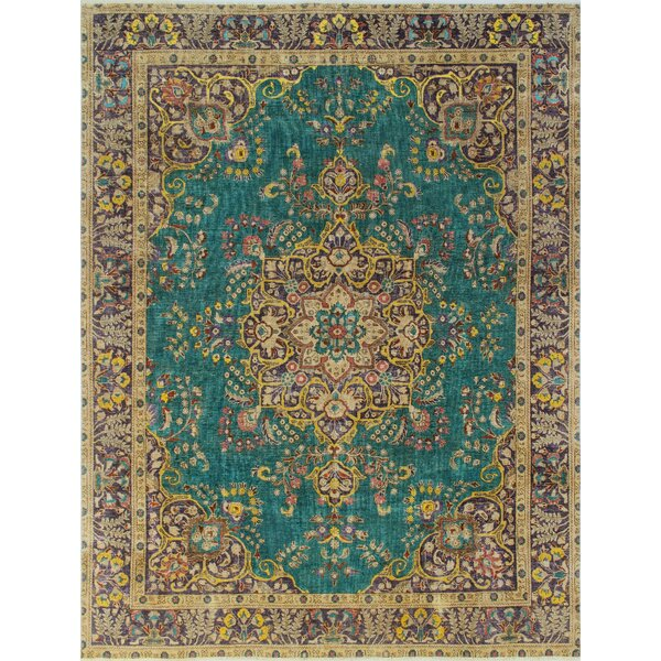 Burnhill Vintage Distressed Overdyed Hand Knotted Wool Green Area Rug by Bloomsbury Market