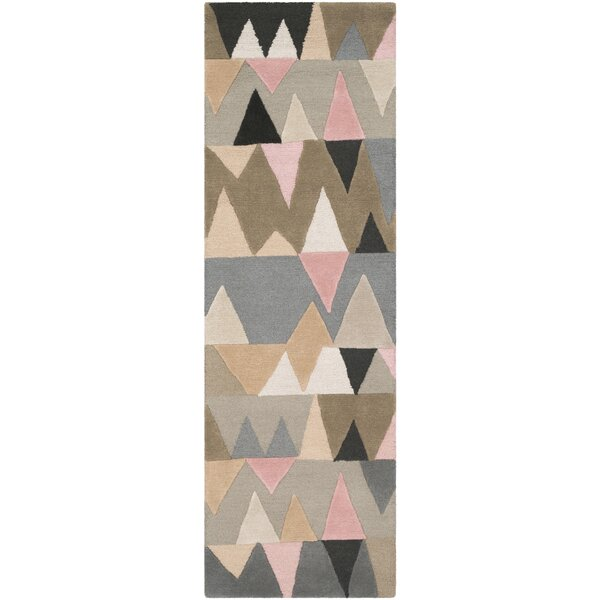 Nida Hand-Tufted Brown/Blue Area Rug by Wrought Studio