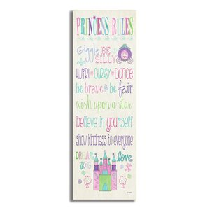 Stella Princess Rules with Castle Typography Wall Plaque by Viv + Rae