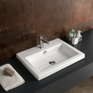 Reviews Cangas Ceramic Rectangular Drop-In Bathroom Sink with Overflow ByCeramica Tecla by Nameeks