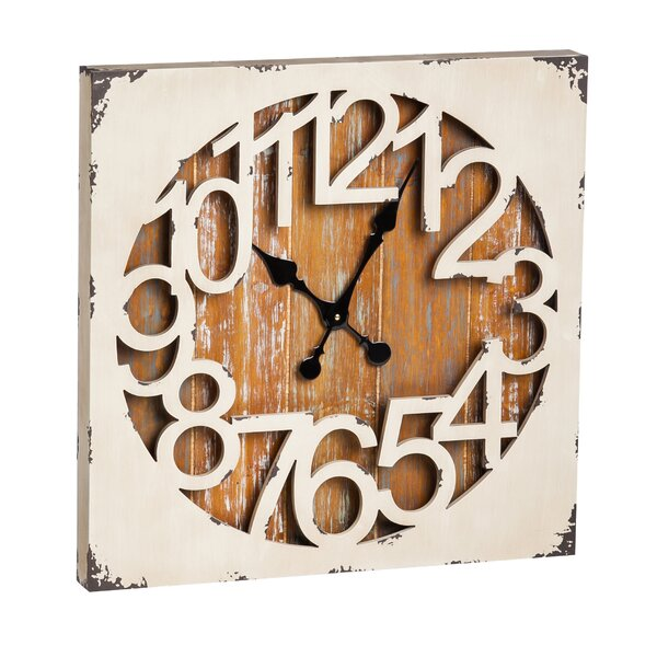 Kershner Square Metal and Wood Clock by Loon Peak