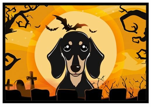 Halloween Smooth Black and Tan Dachshund Doormat by Caroline's Treasures