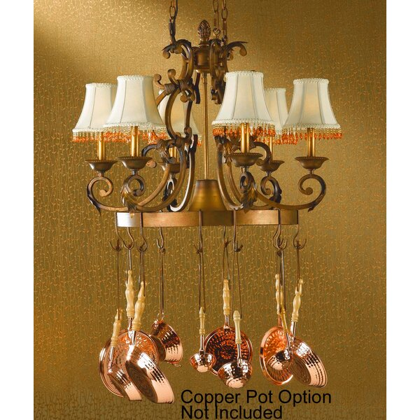 Asheville 6-Light Shaded Wagon Wheel Chandelier by Classic Lighting Classic Lighting