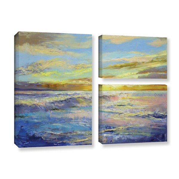 Florida Sunrise by Michael Creese 3 Piece Painting Print on Gallery Wrapped Canvas Set by ArtWall