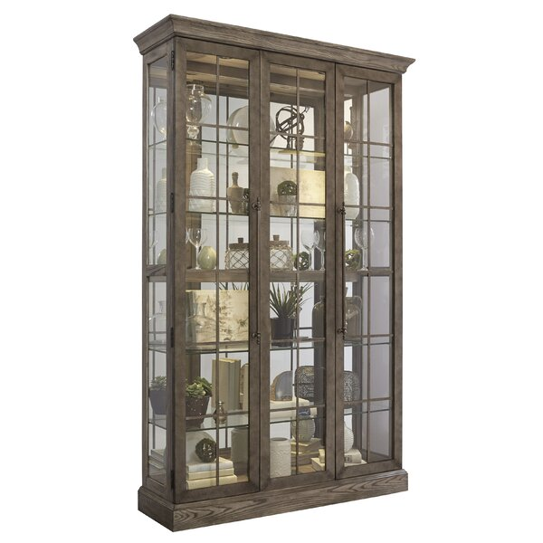 Giovanny Window Pane Door Display Lighted Curio Cabinet by Gracie Oaks Gracie Oaks