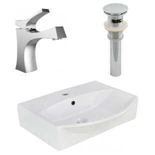 Price comparison Ceramic Rectangular Bathroom Sink with Faucet and Overflow ByAmerican Imaginations