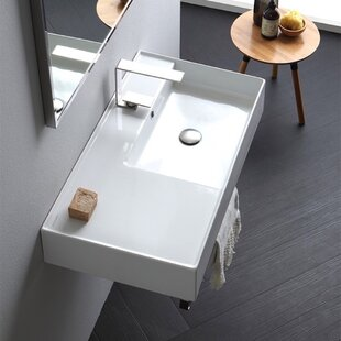 Compare prices Ceramic 32'' Wall Mounted Bathroom Sink with Overflow ByScarabeo by Nameeks