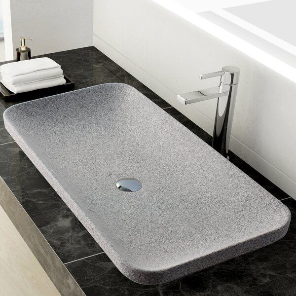 Ivins Stone Rectangular Vessel Bathroom Sink by Maykke