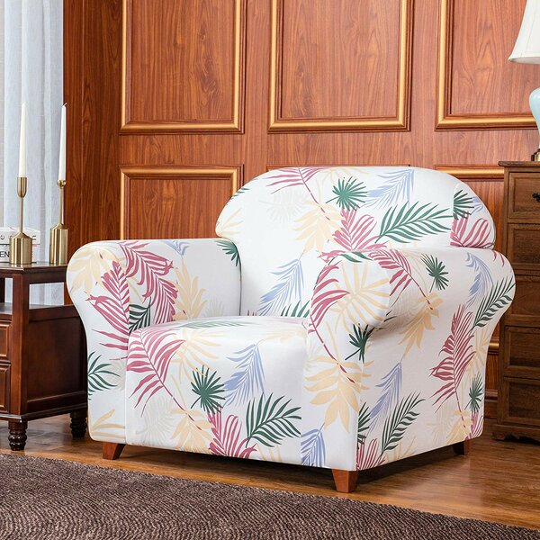 Rocco Leaves Printed Stretch Armchair Slipcover By Bayou Breeze