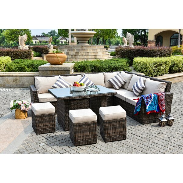 Steinberger 8 Piece Rattan Sectional Seating Group with Cushions by Brayden Studio