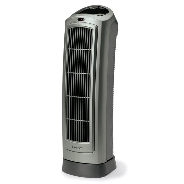 Ceramic 1500 Watt Portable Electric Fan Tower Heater with Programmable Thermostat by Lasko