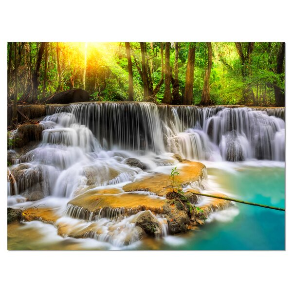 Kanchanaburi Province Waterfall Photographic Print on Wrapped Canvas by Design Art