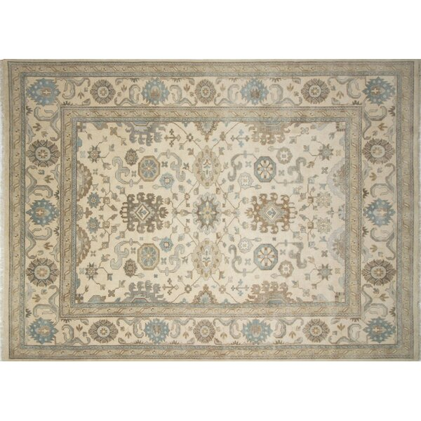 One-of-a-Kind Lona Oriental Hand-Knotted Wool Ivory Area Rug by Isabelline