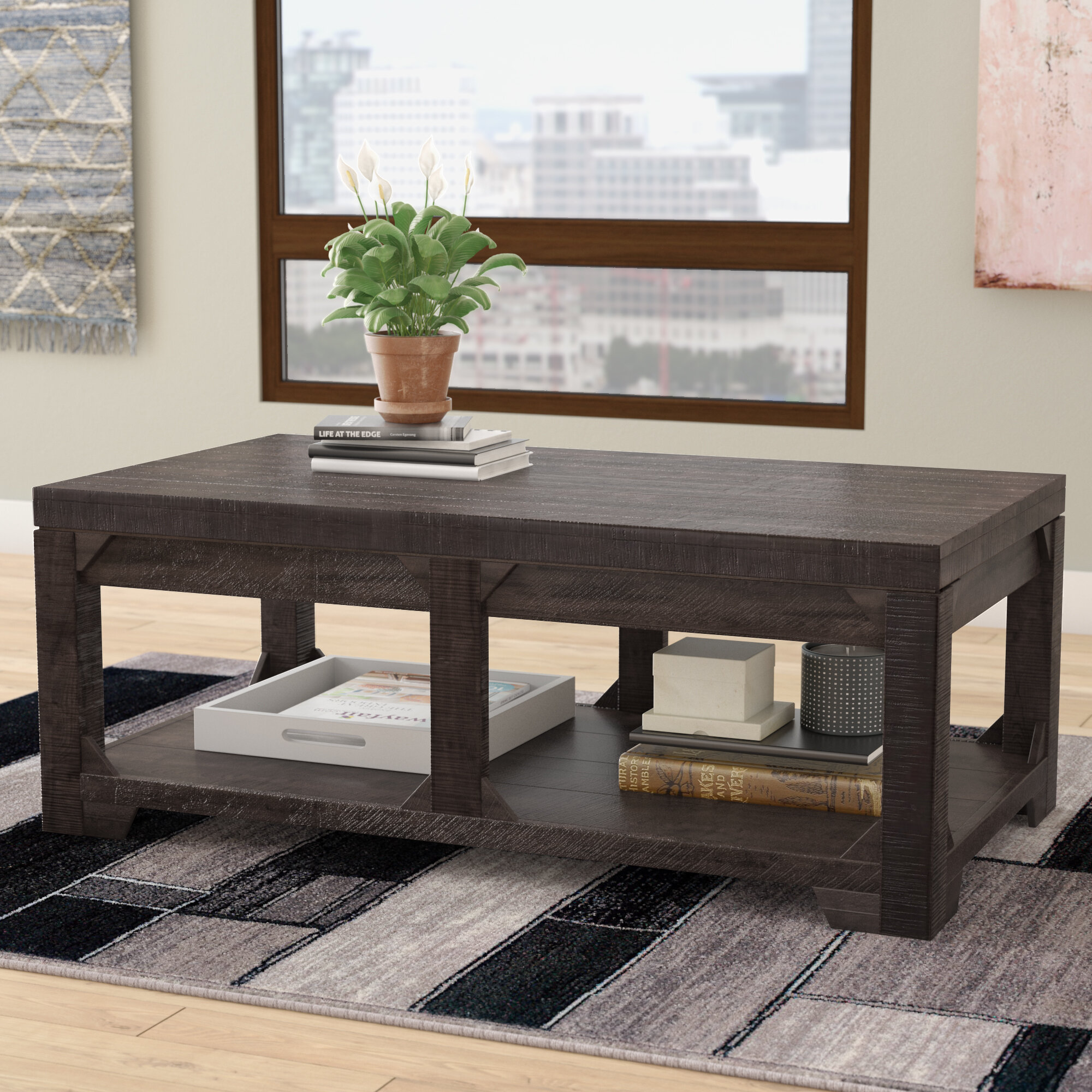 with coffee table drum dwell lift zoom stone base top walnut loading