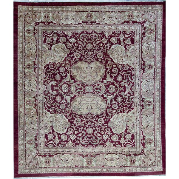 Hand-Knotted Wool Red Rug
