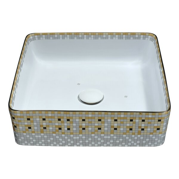 Byzantian Vitreous China Square Vessel Bathroom Sink by ANZZI