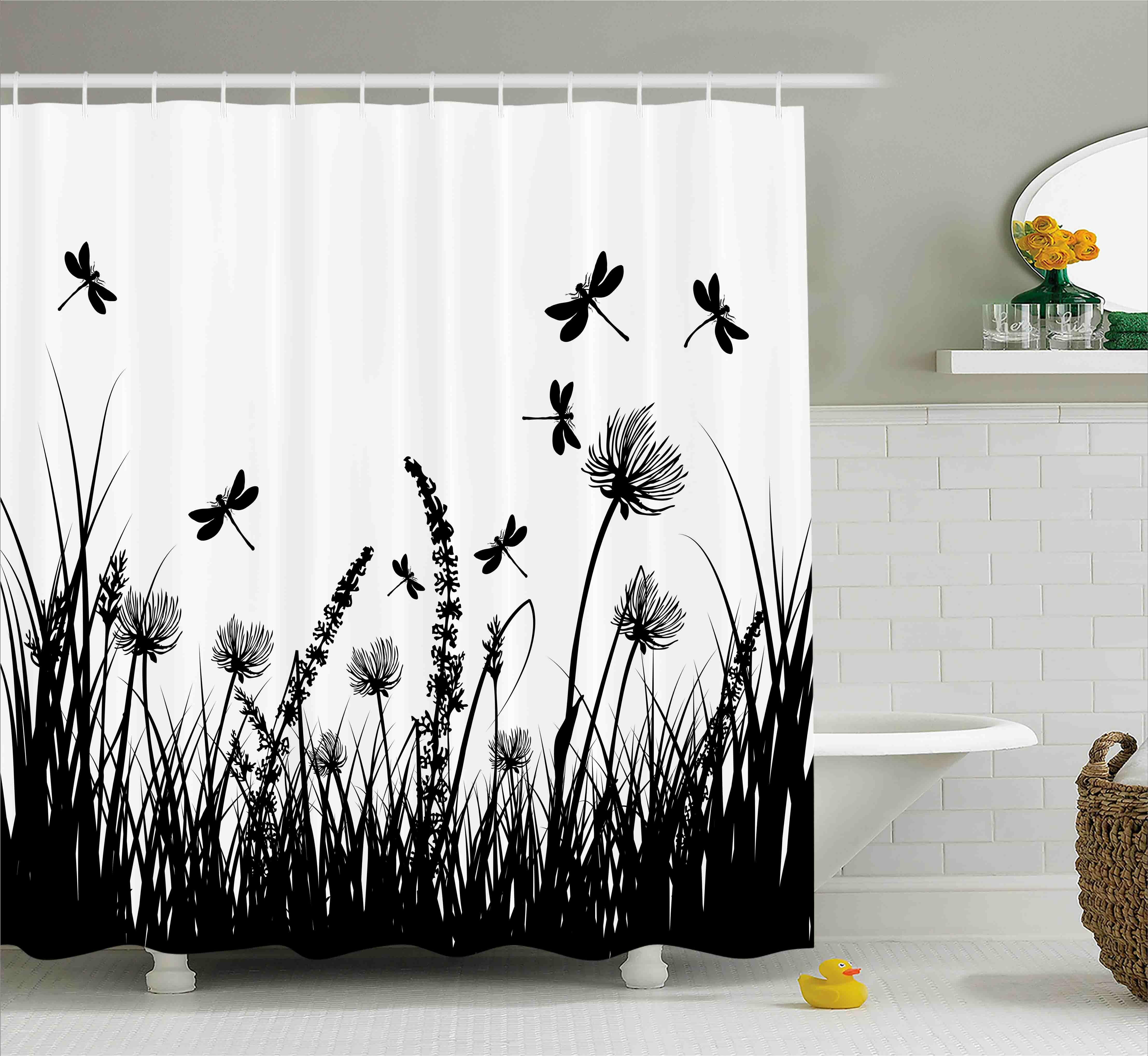 Ebern Designs Faya Grass Bush Meadow Spring Shower Curtain