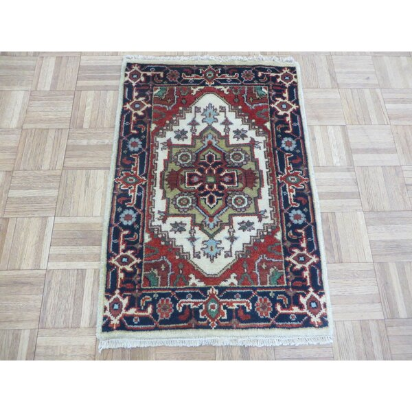 One-of-a-Kind Elford Serapi Hand-Knotted Wool Ivory/Red/Navy Area Rug by World Menagerie