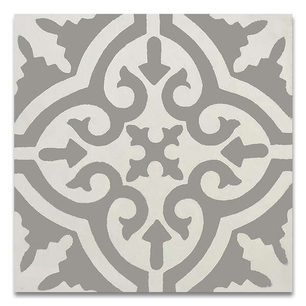 Argana 8 x 8 Handmade Cement Tile in Gray and White by Moroccan Mosaic