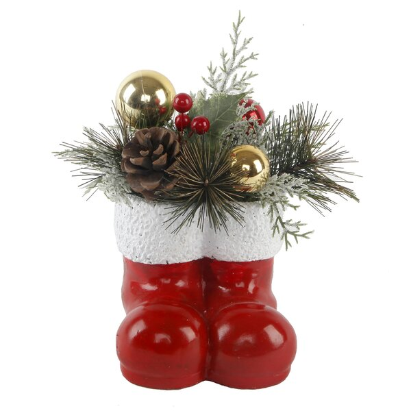 6 Xmas Arrangement Desktop Plant in Cement Santa Boots Pot by The Holiday Aisle