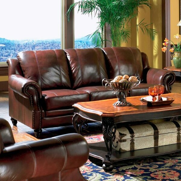 Our Offers Rosetta Leather Sofa by Darby Home Co by Darby Home Co