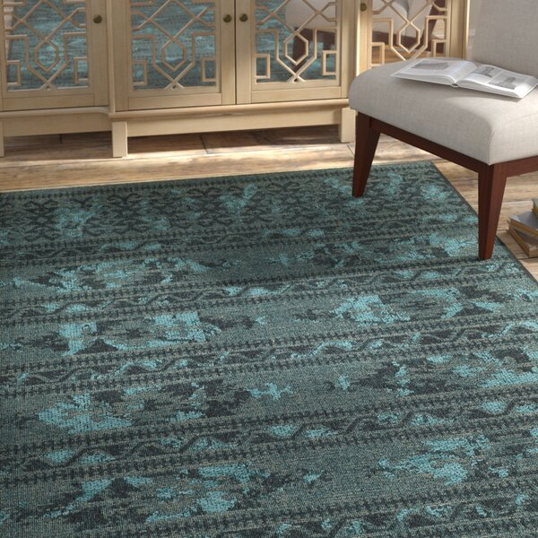 Port Laguerre Black & Turquoise Velvety Area Rug by Bungalow Rose