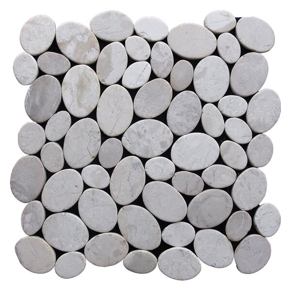Coin Random Sized Natural Stone Pebble Tile in Off White by Pebble Tile