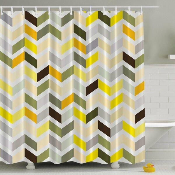 Retro Zig Zag Print Shower Curtain by Ambesonne