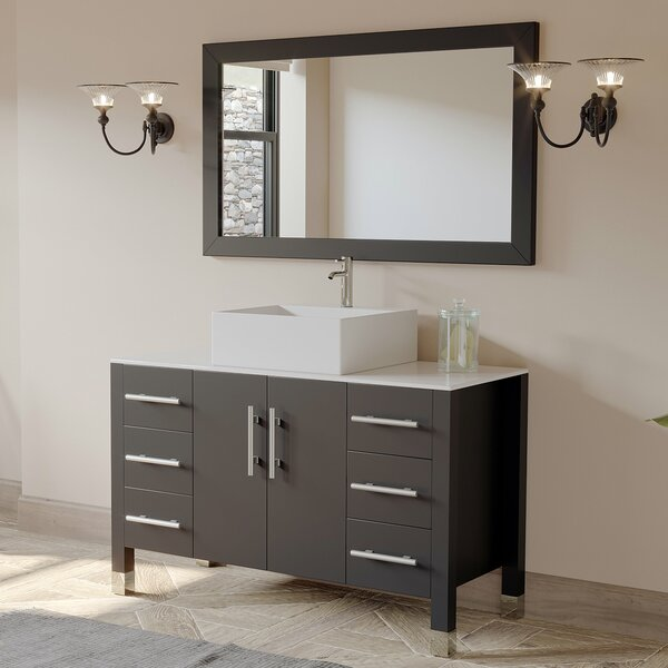 Magnolia 47 Single Bathroom Vanity Set with Mirror by Cambridge Plumbing