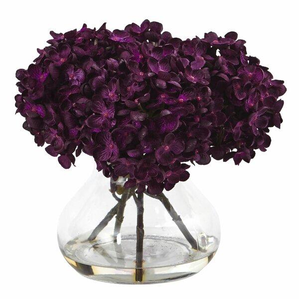 Paulette Hydrangea Silk Arrangement in Vase by Nearly Natural