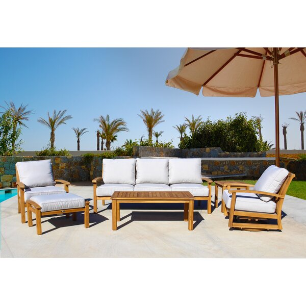 Chancy Courtyard Teak Seating Group with Cushions by Rosecliff Heights