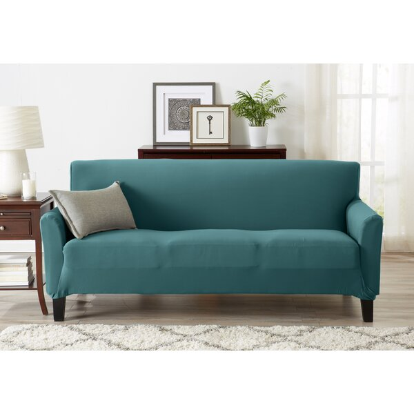 Super Soft Jersey Knit Box Cushion Sofa Slipcover by Winston Porter