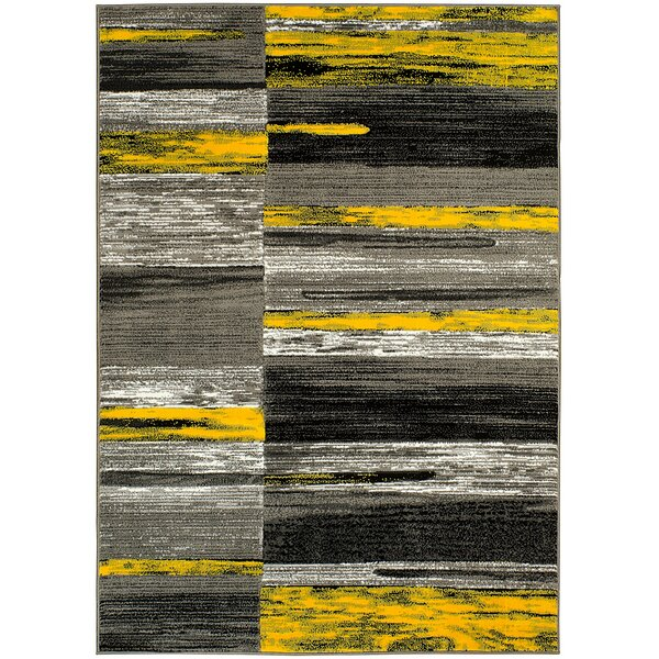 Abstract Yellow/Gray Area Rug by LYKE Home