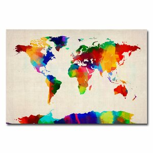 'Sponge Painting World Map' by Michael Tompsett Graphic Art on Canvas by Trademark Fine Art