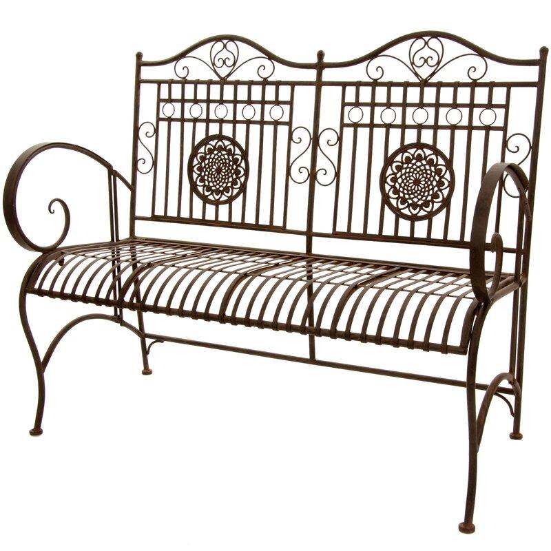 Oriental Furniture Rustic Metal Garden Bench Amp Reviews