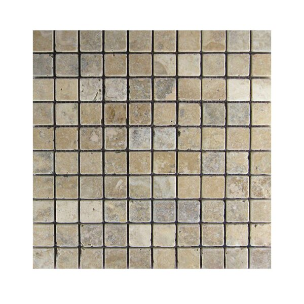 Tumbled 1 x 1 Natural Stone Mosaic Tile in Brown/Gray by QDI Surfaces