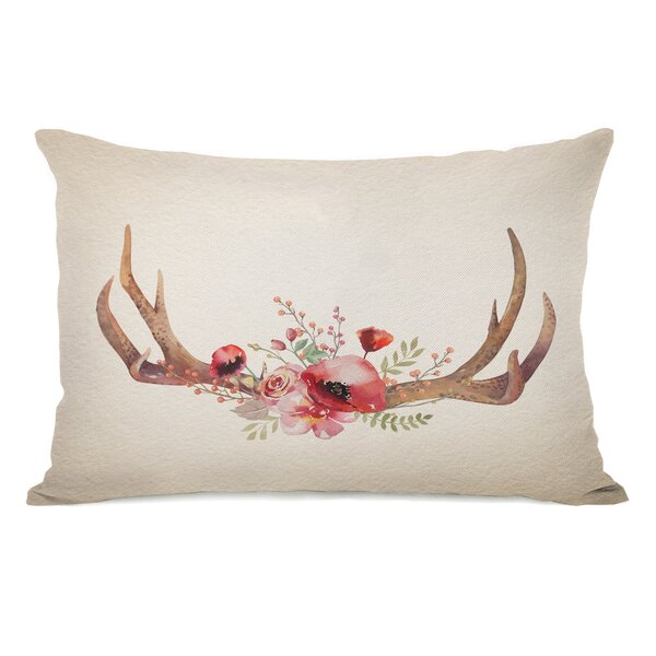 Christmas Antlers Lumbar Pillow by One Bella Casa