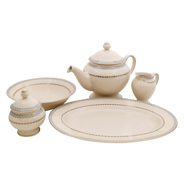 Wik Ivory China Traditional Serving 5 Piece Dinnerware Set by Shinepukur Ceramics USA, Inc.