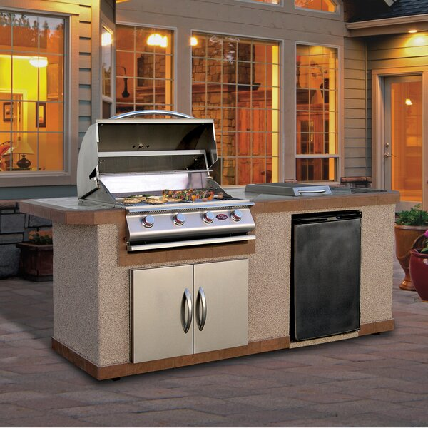 4-Burner Built-In Convertible Gas Grill with Refri