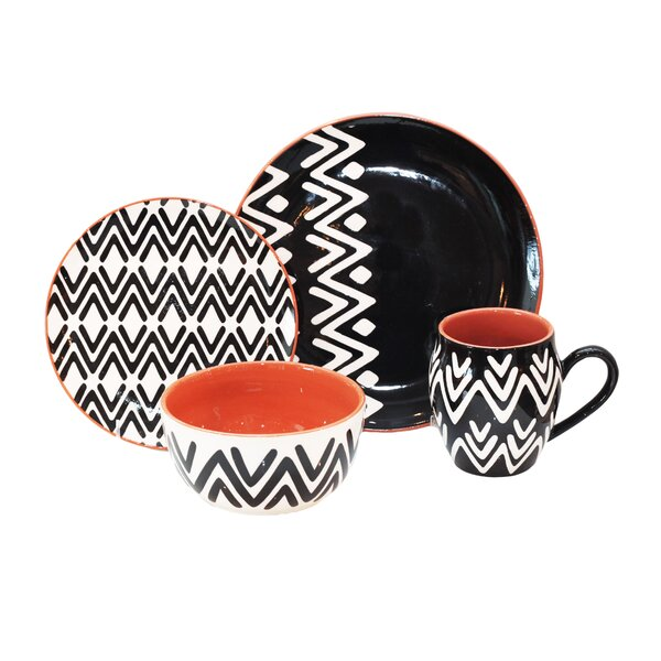Wavy Lines 16 Piece Dinnerware Set, Service for 4 by Baum