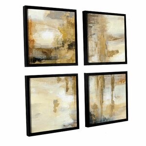 'On the Bridge' 4 Piece Framed Painting Print on Canvas Set by Latitude Run