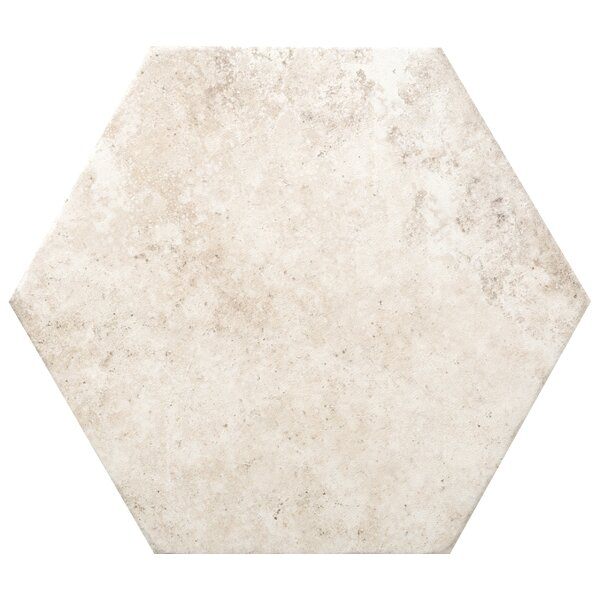 Newberry Hexagon 10 x 11 Porcelain Field Tile in Bianco by Emser Tile