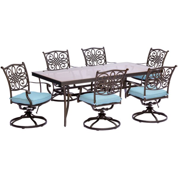 Lauritsen 7 Piece Outdoor Dining Set with Cushions by Three Posts