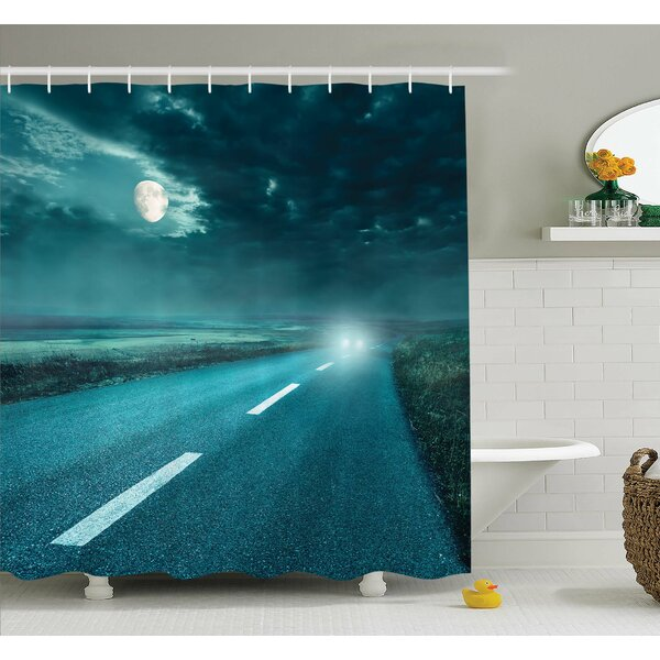 Horror House Highway Road to Hell under Storm Clouds Asphalt Twilight Terror Image Artwork Shower Curtain Set by Ambesonne