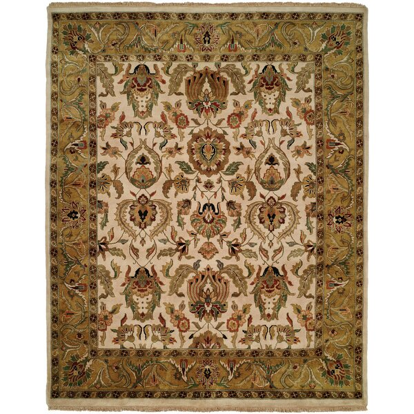 Bail Hand-Woven Gold/Beige Area Rug by Meridian Rugmakers