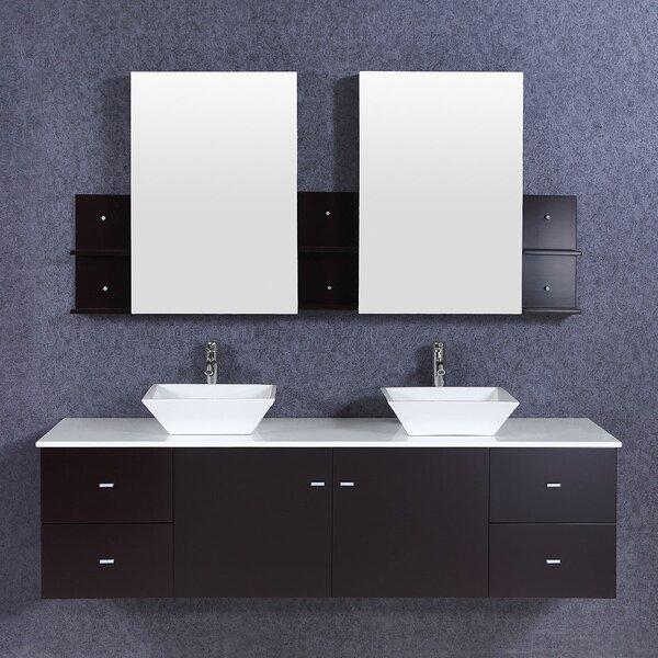 Candice 72 Wall-Mounted Double Bathroom Vanity Set with Mirror