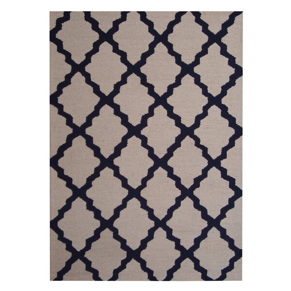 Hand-Tufted Beige/Navy Indoor Area Rug by Herat Oriental