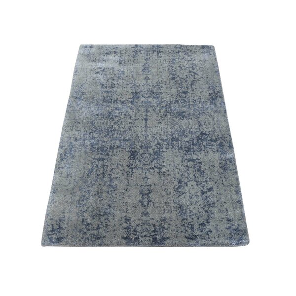 One-of-a-Kind Port Chester Abstract Oriental Hand-Knotted Silk Gray Area Rug by World Menagerie