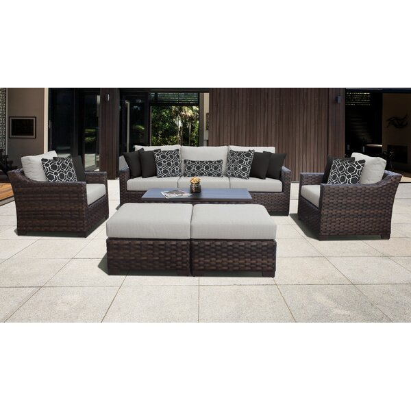 kathy ireland Homes & Gardens River Brook 8 Piece Outdoor Wicker Patio Furniture Set 08c by kathy ireland Homes & Gardens by TK Classics